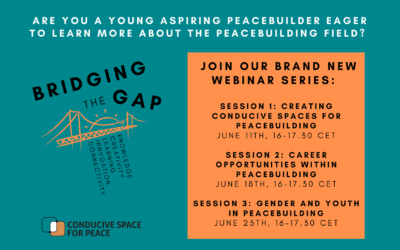 Bridging the Gap webinar series to be launched for young, aspiring peacebuilders